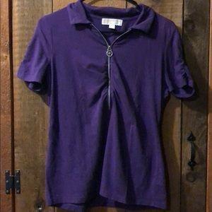 Michael Kors Purple Short Sleeve Polo Shirt